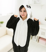lovely bodysuit panda hood winter thermal casual sleepwear lounge skeleton(China (Mainland))