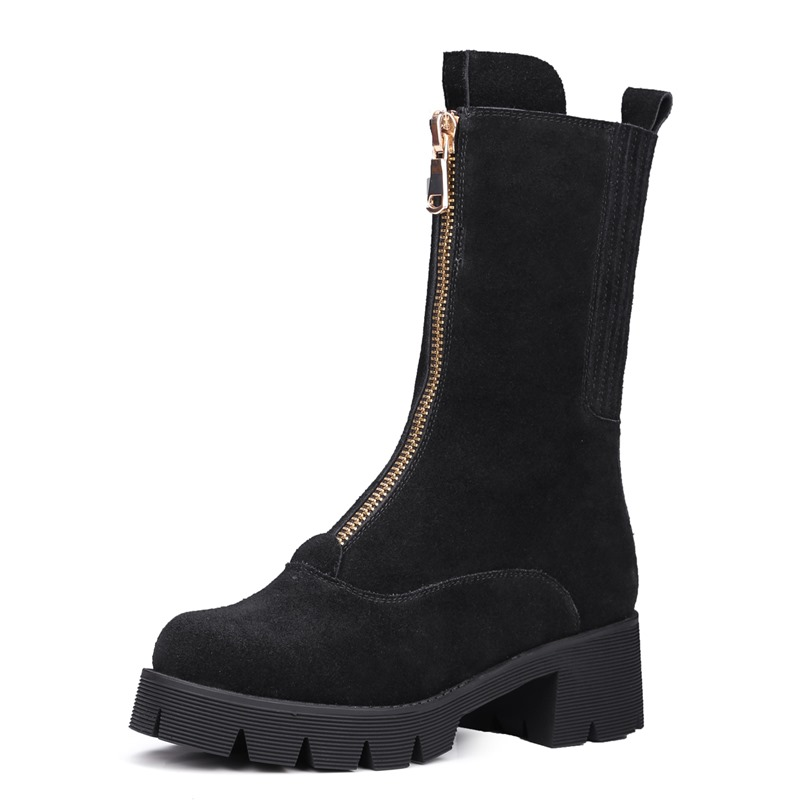 Фотография 2017 New arrival round toe thick heel genuine leather short women boots fashion Western platform zip ankle boots martin boots