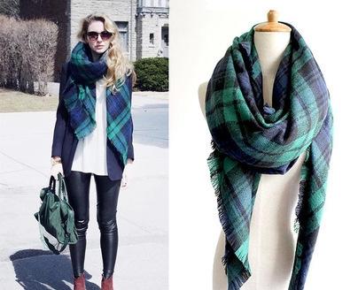 Free Shipping New Fashion Brand Winter Green Checked Plaid font b Tartan b font Wrap Shawl