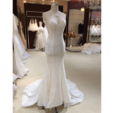 New Designer Halter Backless Vintage Lace Mermaid Wedding Dresses 2017 Key hole Chapel Train Trumpet Bride Gown Plus Size(China (Mainland))
