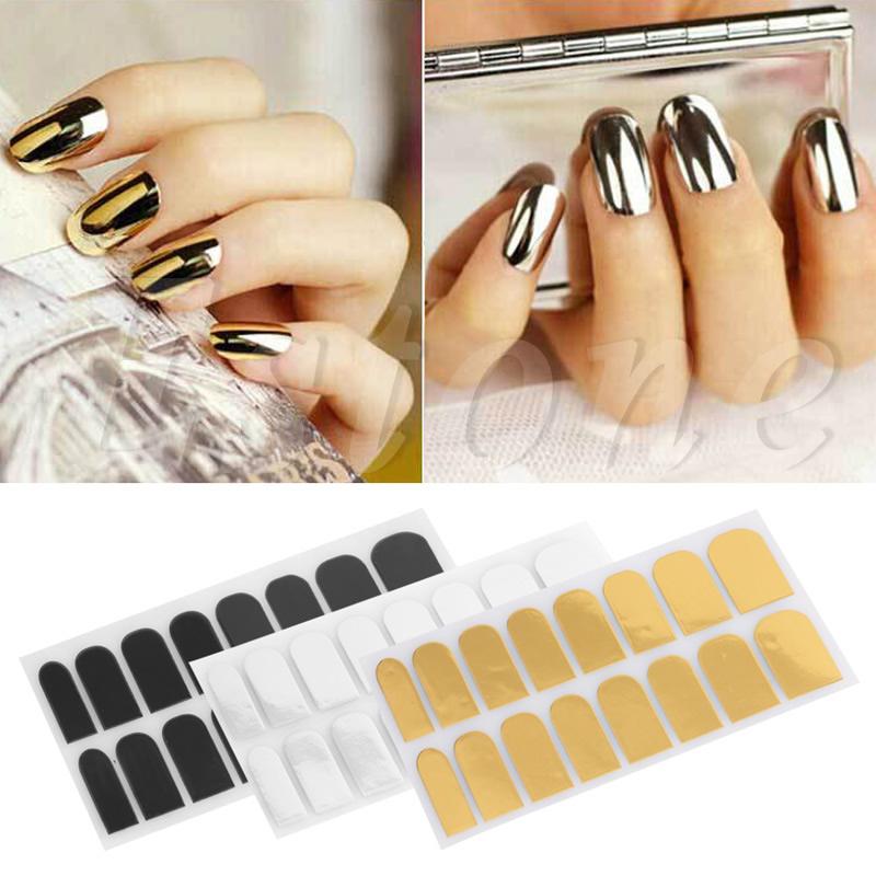 1set Nail Patch Silver Gold Black Foil Nail Art Sticker Gel Nail Patch Manicure Set Wraps Minx(China (Mainland))