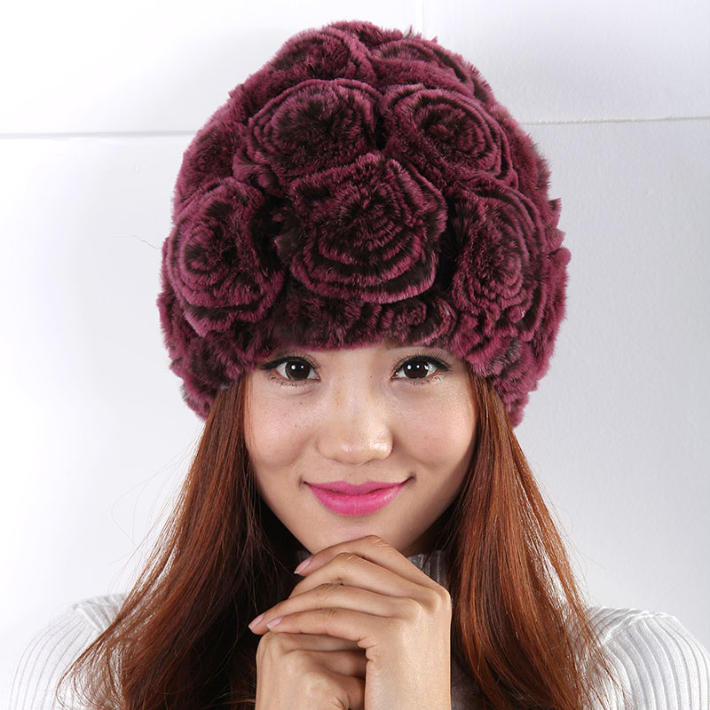winter women's hats round fashion warm Rose decoration Cute Cozy Mixed colors cap warm winter hat Fur Hat Women(China (Mainland))