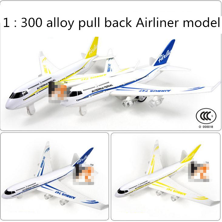1 : 300 alloy pull back Airliner model, sound and light plane model toys, free shipping, children's favorite ,6 pieces / lot(China (Mainland))