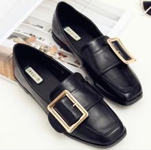 Buy Women Square Toe Slip PU Leather Shoes Flat Heel Shoes Metal Buckle Embellished European Fashion Comfortable Wear for $30.36 in AliExpress store