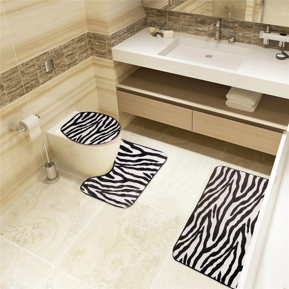 2016 hot zebra pattern toilet sets 3 sets of toilet for Washroom set