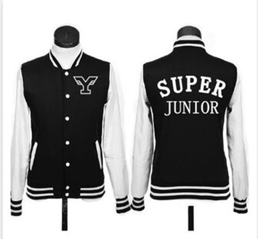 Super Junior kpop Baseball clothes College style Unisex black red blue Cotton Letters printing coat jacket spring autumn clothes(China (Mainland))