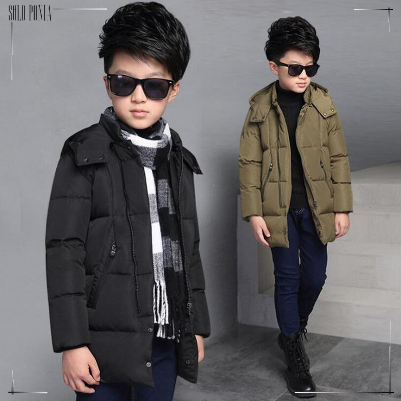 2016 New children Down & Parkas 6-16T winter kids outerwear boys casual warm hooded jacket for boys solid boys warm coats 5329(China (Mainland))