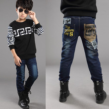 2014 autumn and winter children's clothing boy's jeans kids plus velvet denim trousers children pants  free shipping(China (Mainland))