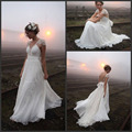 2015 New Vintage beach Wedding Dress 2015 Chiffon and Lace Backless vestido de noiva Bridal Gown