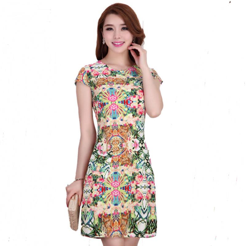 Women Dress 2015 Summer Style Floral Beach Dress Korean Style Women Plus Size Mini Casual