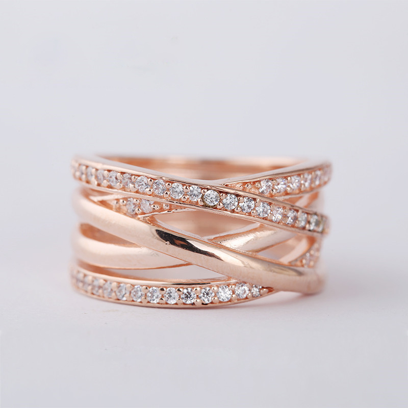 New Rose Gold Ring Sterling Silver Jewelry Rings for Women 925 Silver Wedding