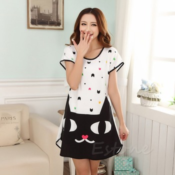 J117-Free shipping New Women Cartoon Polka Dot Sleepwear Short Sleeve Sleepshirt Sleepdress