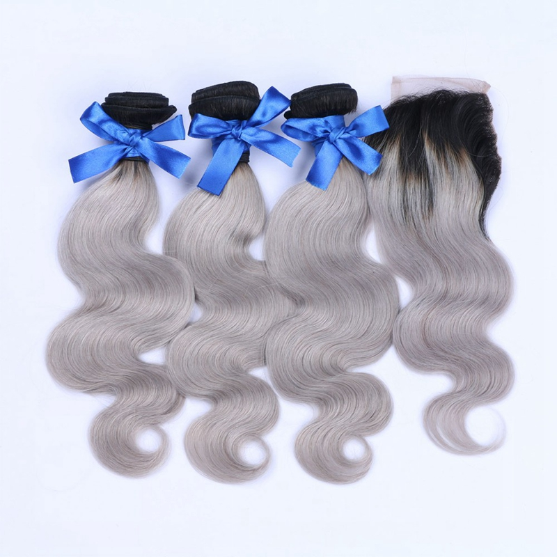 Unprocessed Ombre Brazilian Virgin Gray Hair Body Wave 3 Bundles With Closure Brazilian Human Hair Extension With Lace Closure