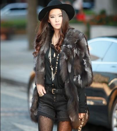 New Silver fox coat women long natural fur coats winter jacket custom plus size F599 - Cocol colette Fashion co.,Ltd store