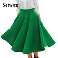 SETWIGG Spring New Women s Fashion Vintage Skirts High Waist Street Thick Lined Celebrity Flare Pleated