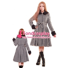 Free Shipping Women Dress Gothic Lolita Punk Sweet Houndstooth Coat Jacket With Cape Tailor-made