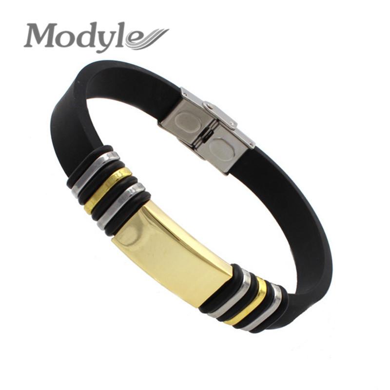Pulseiras Femininas Men Vintage 18K Gold Plated Black Punk Silicone Bracelets Bangles New 2016 Designer Bijoux Handmade Bijoux(China (Mainland))