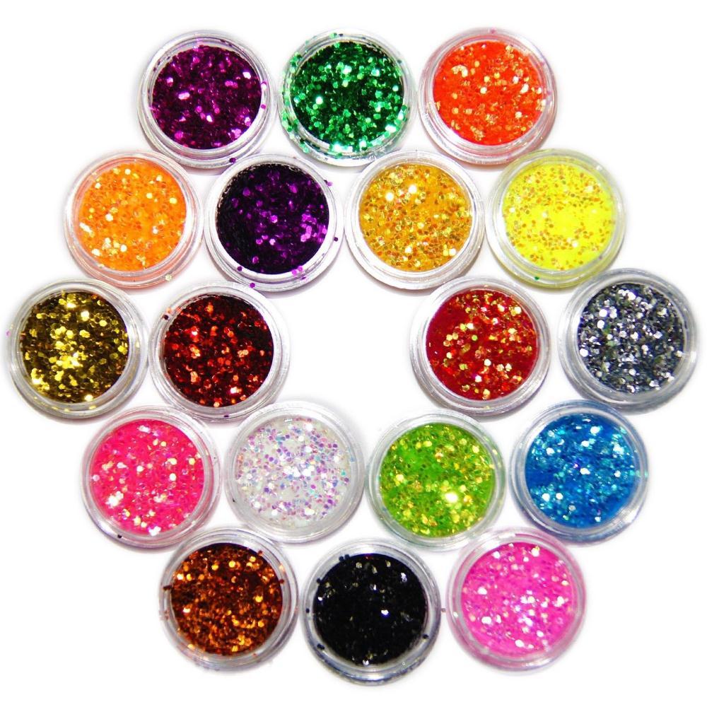 2015 New Arrival Nail Art 18 pcs Color Glitter Tiny Hexagonal Flake Powder Acrylic tip Decoration Free Shipping(China (Mainland))