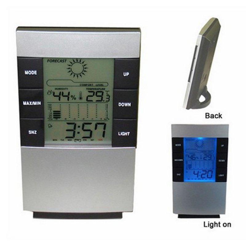 Digital LCD Hygrometer Thermometer Temp Humidity Meter Max/Min Clock Indoor <br><br>Aliexpress