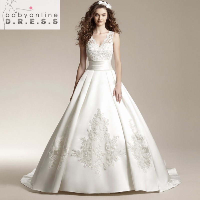 Robe De Mariage Cheap Ball Gown Weeding Dresses 2016 Sexy V Neck Satin Bridal Gowns Under 100 In