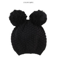 New Brand Warm&Beautiful Winter Knitted Wool Hat women big pompon cat ear Cap skullies&Beanie Hats Free Shipping(China (Mainland))