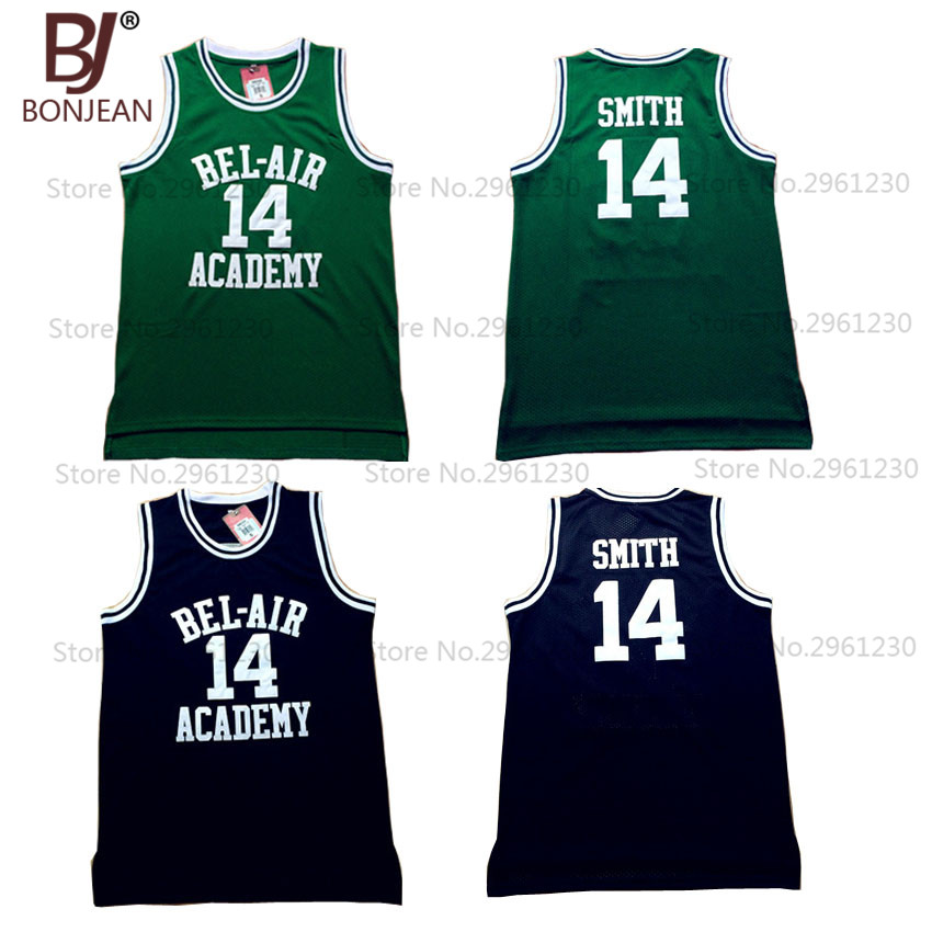 BONJEAN Bel Air Academy Basketball Jerseys #14 Will Smith Jersey Green Black Color Stitched Hip Hop throwback Shirts(China (Mainland))