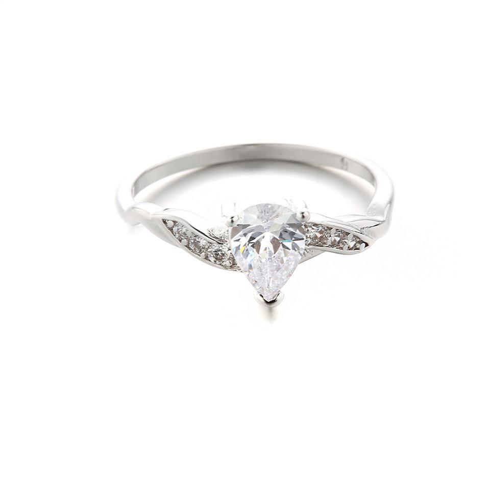 fashion trendy white zircon ring black ring