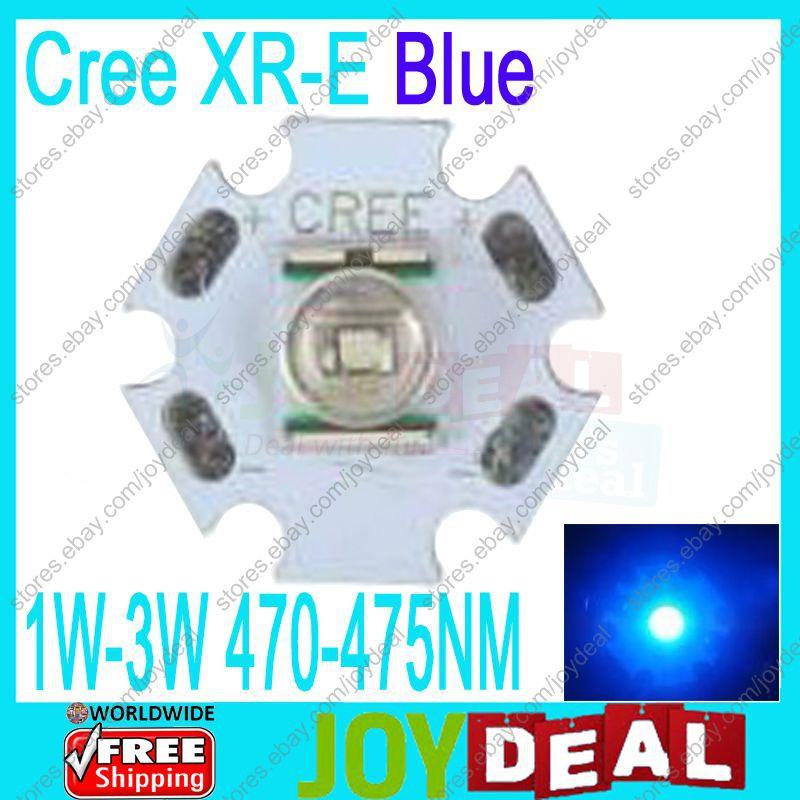 Hot Sale 5PCS Cree XLamp XR-E Blue 470-475NM 65LM 1W 3W LED Light Emitter w/20mm Star PCB free shipping(China (Mainland))