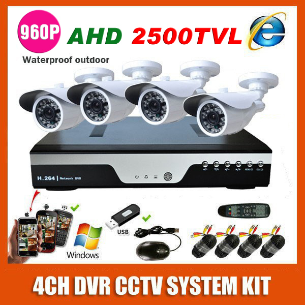 4 Channel 1.40 MP White Bullet CCTV System Kit 4CH AHD 1280*960P 2500TVL Video Outdoor Camera Monitoring Surveillance System Kit(China (Mainland))