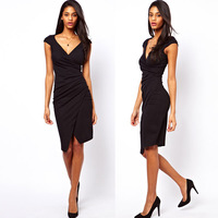 Waist deep asymmetrical design fold black pencil  short-sleeved dress Slim high-elastic