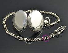 man father smooth round classic silver men pocket watch gift quartz short waist chain low price