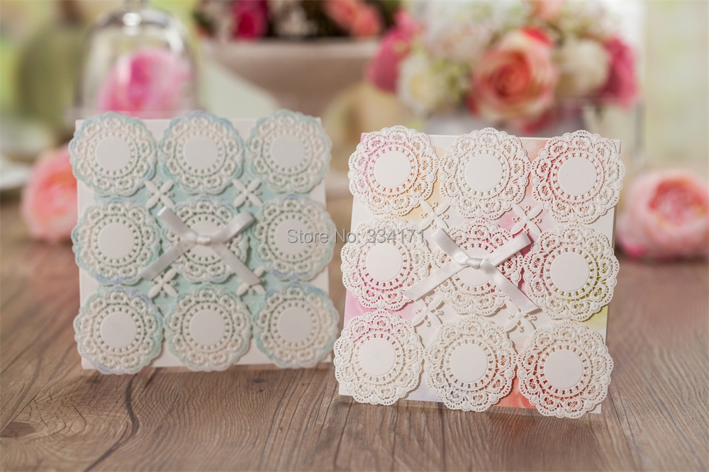 2015 newly arrival 50pcs/set free envelop and free seal embossed laser cut Wedding baby shower Invitation CW5051 CW5052(China (Mainland))