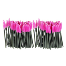 New 100pcs/lot make up brush Pink synthetic fiber One-Off Disposable Eyelash Brush Mascara Applicator Wand Brush quality first