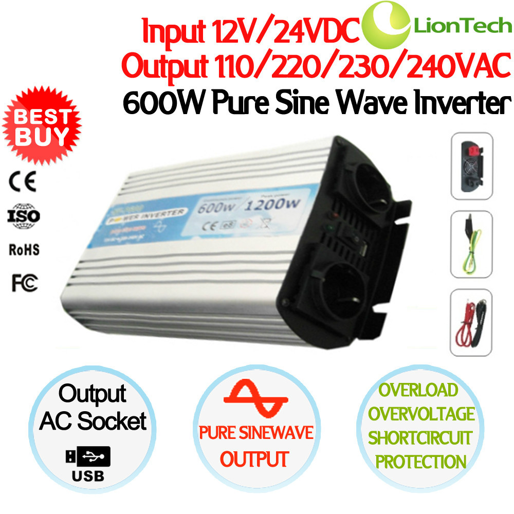 NEW 600W/1200W Peak 12/24VDC to 110/220VAC Single Phase Pure Sine Wave Power Inverter NV-P600, CE RoHS ISO FCC Certificate(China (Mainland))