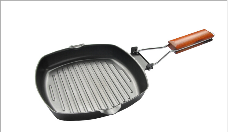 Hot Sale Europe Style Steak Frying Pan Non-sticky Folding Cast Iron Frying Pan Free Shipping(China (Mainland))