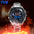 Male Sports Watch Men Full stainless steel waterproof Quartz watch Digital Analog Dual display Men s