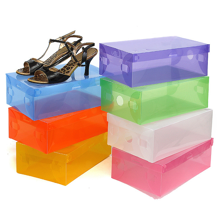 Free shipping Clear Plastic Shoe Storage Transparent Boxes Container for Shoes Organizer
