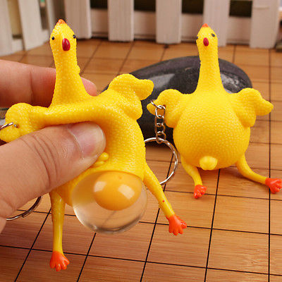 Fashion Novelty Tricky Toys Chicken and Eggs Key chain Squishy Squeezing Funny Toys Cute