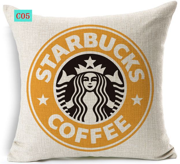 Coffee pattern pillowcase cushion cover decorative designer throw pillows couch home decor vintage linen cotton - Home-Home Store store