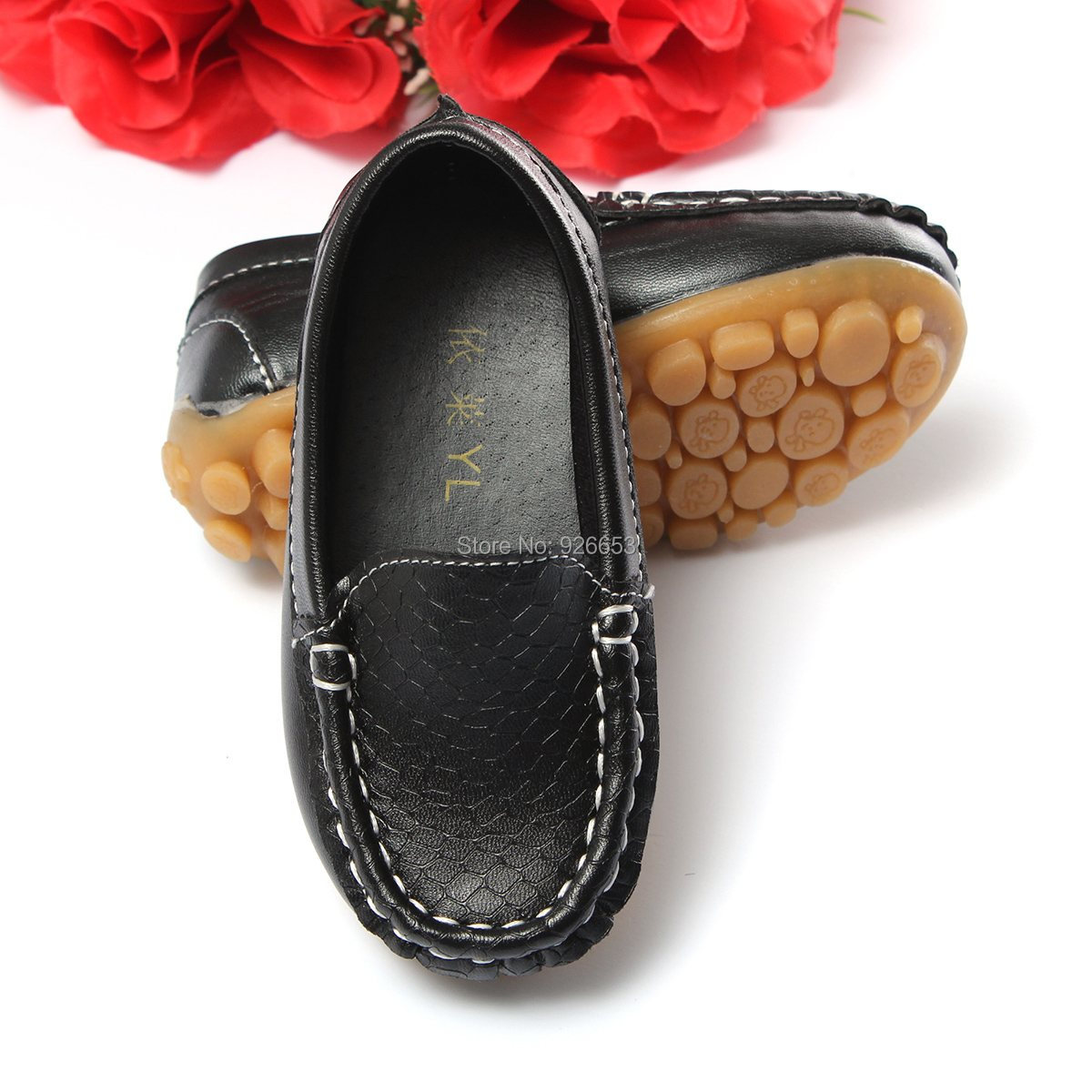 New Fashion Size 21-25 Children Kids PU Leather Sneakers For Boys And Girls Boat Shoes Slip On Soft Sole Casual Flats(China (Mainland))