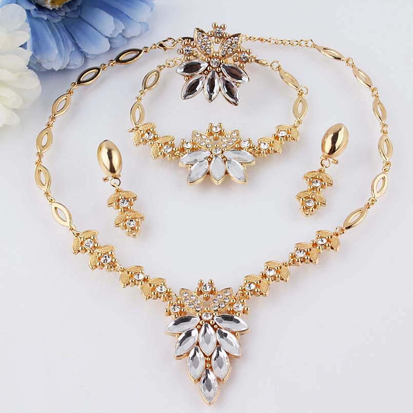 Free shipping environmental New 18k Yellow Gold Filled three colors Austrian Crystal Necklace Bracelet Earring Ring Jewelry Set(China (Mainland))