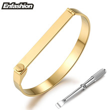 Enfashion Flat Bar Screw Bracelet Noeud Armband Gold Plated Bangle Love Bracelet For Women Cuff Bracelets Manchette Bangles(China (Mainland))