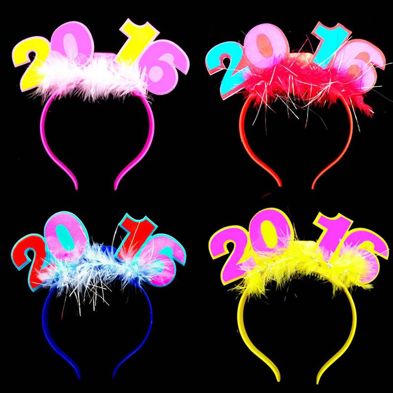 2016 Light Up Blinking Happy New Years Headband FLASHING Head Band Decor(China (Mainland))