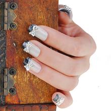 2015 Newn 10PCS 3D Bowknot Nail Art Stickers Silver Alloy Bow Tie Rhinestones Glitters Beauty DIY Decorations 6F5D