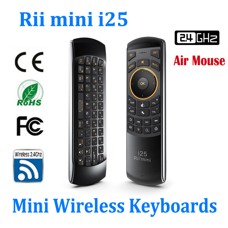 Built-in 6 Axis Ultra Sensitive 2.4G Air Mouse Keyboard IR Remote, Top Quality Double Silicone Buttons Rii Mini I25(China (Mainland))