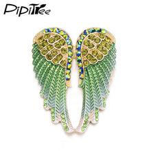 Pipitree Fashion Vintage Sayap Malaikat Bros Pin Wanita Pria Perhiasan Hadiah Natal Antik Warna Emas Berlian Imitasi Bros(China)