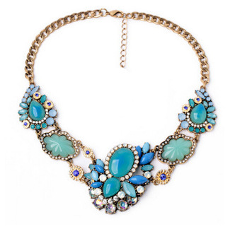 Star Jewelry New Choker Fashion Necklaces Women 2014 Fresh Blue Stone Crystal Flowers Pendant Statement Necklace 97 - Mamojko Store store