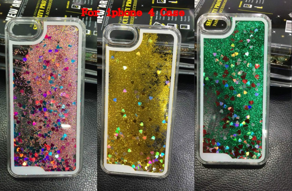 Bling star Dynamic Flowing Liquid Sand For iPhone4S Hard PC case Peach heart sand Hard case(China (Mainland))