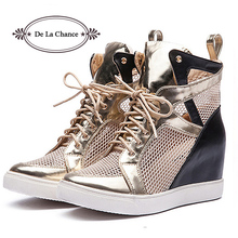 New Arrival Brand 2016 Women Shoes Spring Autumn Casual Fashion Flats High Top Shoes PU Lace up Breathable Wedge Cutout Boots