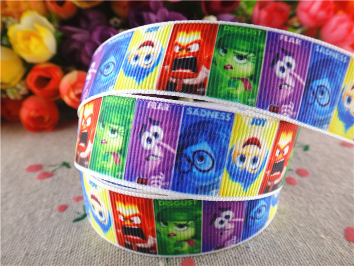 15070450, 7/8' (22mm) 10 yards Inside Out printed grosgrain ribbons cartoon ribbon hair accessories tape(China (Mainland))
